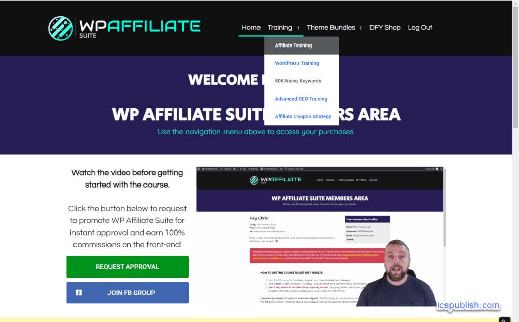 WP Affiliate Suite Review - Members Area